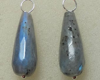 8x20mm Blue Flash Labradorite Teardrops INTERCHANGEABLE Earring Charms Sterling, Rose or Yellow Gold Filled