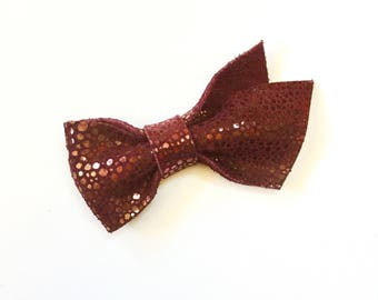 Burgundy Bubbles Stella Leather Bow