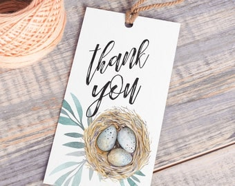 Printable Thank You Tags | Bird Nest | Instant Download PDF | Printable Favor Tags | Spring Favor Tag | Thank You Hang Tag | Watercolor Tag