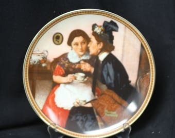 """Norman Rockwell 1983 """"Gossiping in the Alcove""""  Collector Plate from the """"Rediscovered Women"""" Series"""