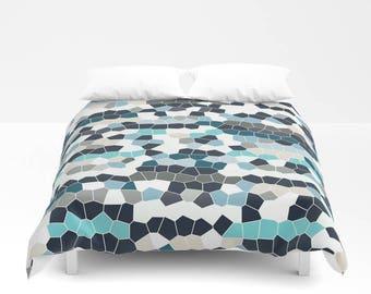 duvet cover doona cover comforter cover grey teal aqua navy home decor
