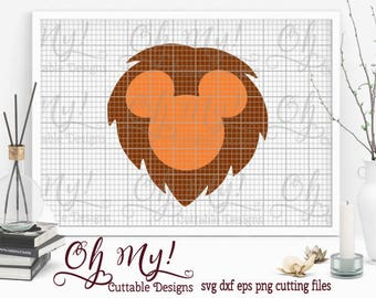 Lion Mickey Head Svg Dxf Eps Png Cutting Files