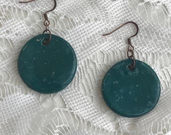 Emerald green speckled ceramic earrings