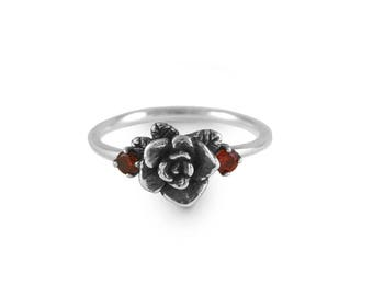 Rose Ring, Oxidized Mini Rose Ring with Cubic Zirconia, Handmade, Sterling Silver Ring, Engagement Ring
