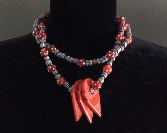 Blue & Red African Trade Bead Necklace