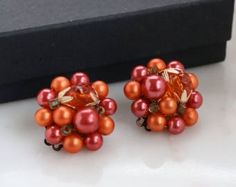 Beaded Cluster Clip On Earrings - Beaded Clip On Earrings
