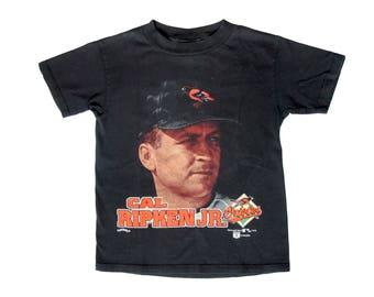Vintage Cal Ripken Jr. Black T-Shirt MLB Baseball 90s Baltimore Orioles Nutmeg Mills