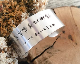 Family collection - Aluminum band bracelet hand-engraved with the family