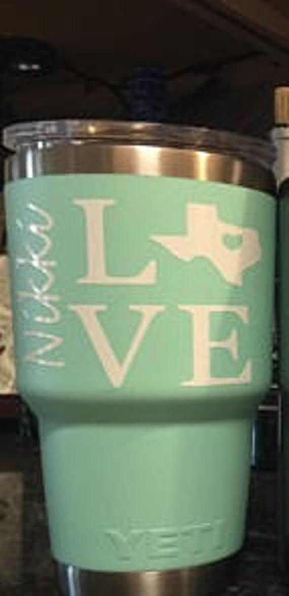 Texas, love, decal, cup, women, men, Tennessee, Texas Love, decal, yeti decal for woman, decal for woman, texas yeti cup, cup decal