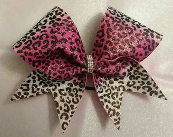 Pink and White Sublimated Cheetah Glitter Cheer Bow