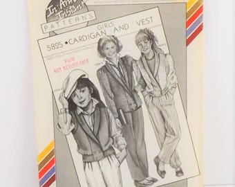 Vintage 1985 Stretch Sew Pattern 5825 Girls' Cardigan Vest In-Ann-Instant.