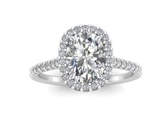 Oval Moissanite Engagement Ring, 14K Rose Gold Moissanite & Diamond Wedding Ring, Forever One Moissanite, 14K White Gold