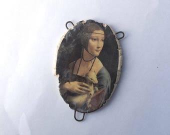 Leonardo Da Vinci, Lady with an Emine, Decal Print , Centerpiece, Ceramic Decal, Donna Perlinplim, indie jewelry component, High Renaissance