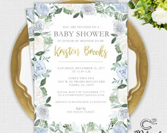 Winter Blues Floral Baby or Bridal Shower Invitation