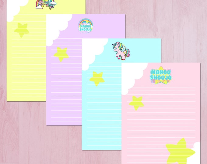 Magical Girl Printable Kawaii Digital Note Paper - Instant Download for Printing and Scrapbooking