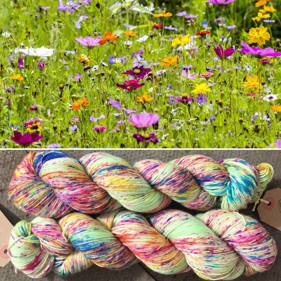 Summer Meadow, speckled flower indie dyed merino nylon floral sock yarn