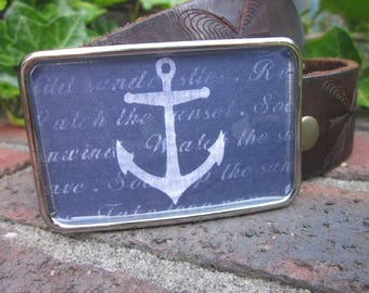 mens belt buckle blue white anchor Belt Buckle women's belt buckle resin belt buckle boho belt buckle bohemian nautical belt buckle beach