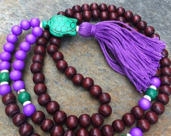 wood bead mala 108 bead turtle necklace purple tassel necklace brown necklace Bohemian boho long beaded necklace mens mala women's mala yoga