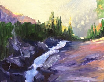 Original Colorado Landscape Oil Painting, Waterfall 9x12""