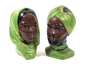 Vintage Man & Woman Middle East Style Head / Mid Century Ceramic Bust Sculpture Set