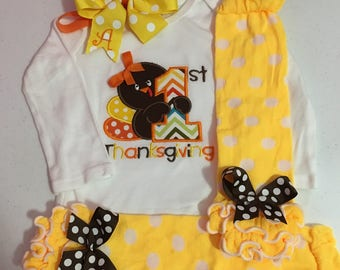 Baby Girl Thanksgiving Outfit, Girl First Thanksgiving Outfit, 1st Thanksgiving Outfit, First Thanksgiving Outfit, Thanksgiving Tutu Set