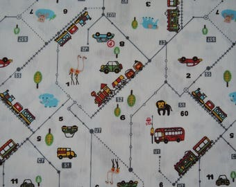 "Last Half Yard of D's Selection Cars Buses Trians Vehicles Zoo by Daiwabo Fabric on Off White Background. Approx.18"" x 44"" Made in Japan"