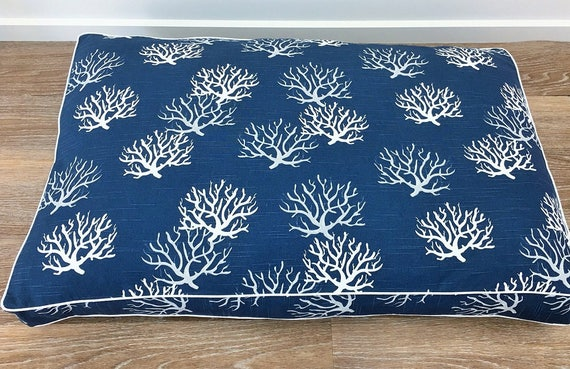 'Navy Sea Fan' Dog Bed with insert -  pet bed - SMALL, MEDIUM, LARGE