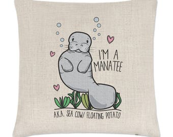 I'm A Manatee Linen Cushion Cover