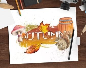 Fall watercolor print, Autumn watercolor, seasons decor, 8x10 printable art download, seasonal art, digital watercolor print, jpeg + png