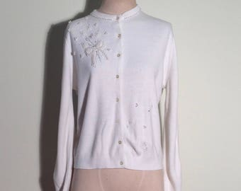 1950's White Pearl Beaded Button Down Cardigan Sweater