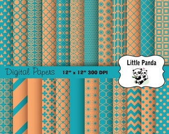 70% OFF SALE Teal Blue and Tan Digital Scrapbooking Papers 24 jpg files 12 x 12 - Instant Download - D327