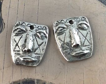 Handcast Face Charms, Small, Pewter, Handmade, Artisan, Jewelry Elements No. 608CP