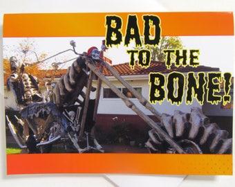 Funny Halloween Card - Biker Halloween Card - Motorcycle Halloween Card - Chopper Halloween Card - Skeleton Motorcycle Halloween Card