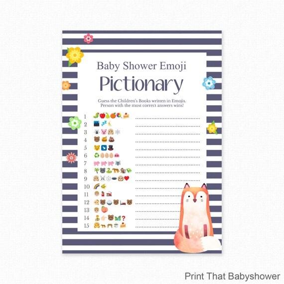 Baby Shower Game Fox Shower Emoji Pictionary Fox Baby Shower