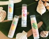 Sweet 16 Tropical Chapstick Favors 24ct, Personalized Beach Chapsticks, Hawaii Party Theme Favors, Sea Party Favor, Lip Balm Favor EB3031TPB