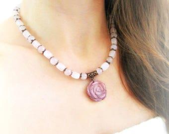 Rose quartz copper necklace, floral necklace, stone flower necklace, pink copper necklace, gemstones beaded floral necklace