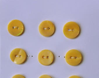 Yellow Mother of Pearl Buttons. Set of 9. TRSY18L#100/2H