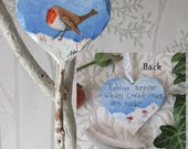 Robin on a Heart, Hanging Heart Decoration, Robins Appear when Loved ones are near,