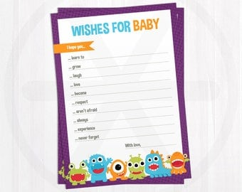 Wishes for Baby Cards. Baby Shower Wishes for Baby Printable. Baby Wishes Cards. Little Monster Baby Shower Games Activities. Baby Keepsake