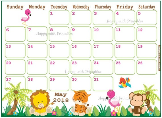Baby Calendar May : Calendar may jungle safari planner printable cute
