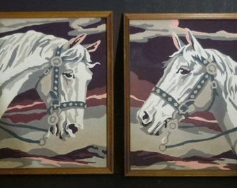 Paint by number Horse art,  2 White horse Framed paintings,  Paint by Number mountains,  retro wall art, Bridle  and reins, Horse lover art