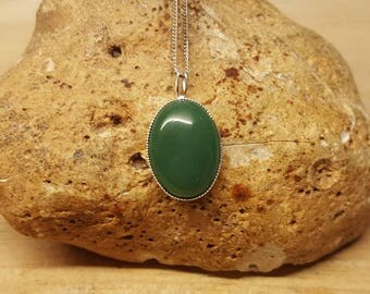 Green Jade pendant. 925 sterling silver. Nephrite Jade. Reiki jewelry uk. 12th anniversary gemstone. 18x13mm oval stone
