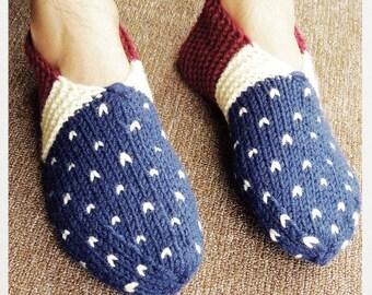 Knitted Men's Slippers, Men's House Shoes, Wool slippers, Hand knit indoor shoes, Knitted Loafers, Men Slipper Boots, Gift For Men