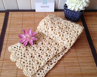 Japanese elegant scarf in lace crochet, Merino and cashmere, beige sand