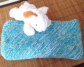 Baby blanket two-tone soft handmade knitted, white cream-blue turquoise
