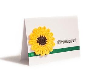 Happy Birthday Sunflower card, handmade crocheted sunflower - Happy Birthday