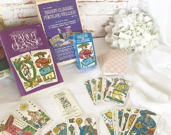 Vintage 1971 Tarot Classic Cards Deck Boxed Set, Book Box instructions Fortune Telling Cards, Halloween Games, Playing Cards, Astrology