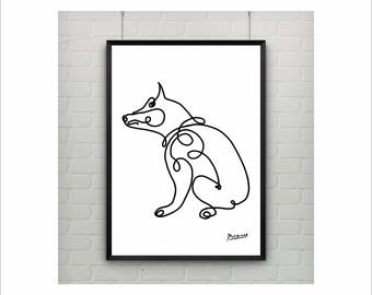 Picasso Print, Pablo Picasso Dog Print on paper or canvas / Abstract Animals / Picasso Sketch / Minimalist Art / Wall Art / Kids Room Decor