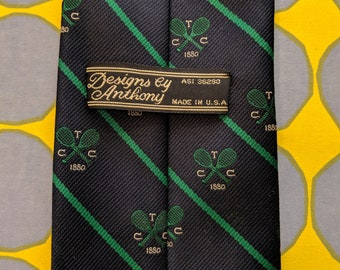 1980s // TENNIS CLUB // Vintage Designs by Anthony Made in USA Tie