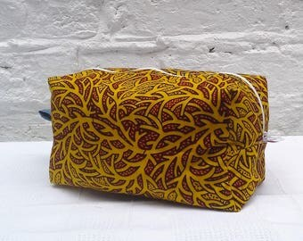 Yellow Toiletry Bag African Wax Fabric Cosmetic Make Up Bag